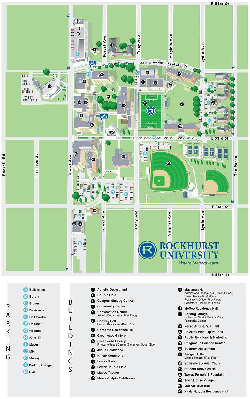 Campus Map Brown.Campus Map Rockhurst University
