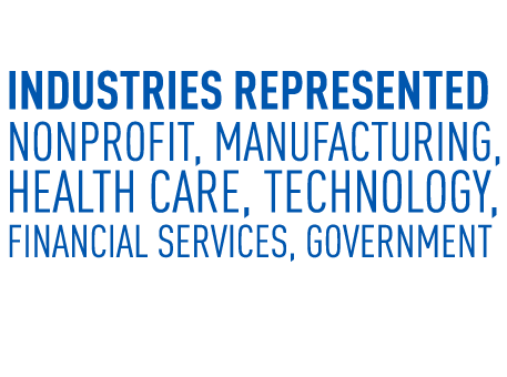 Representing Nonprofit, Manufacturing, healthcare, technology, financial services, government and more