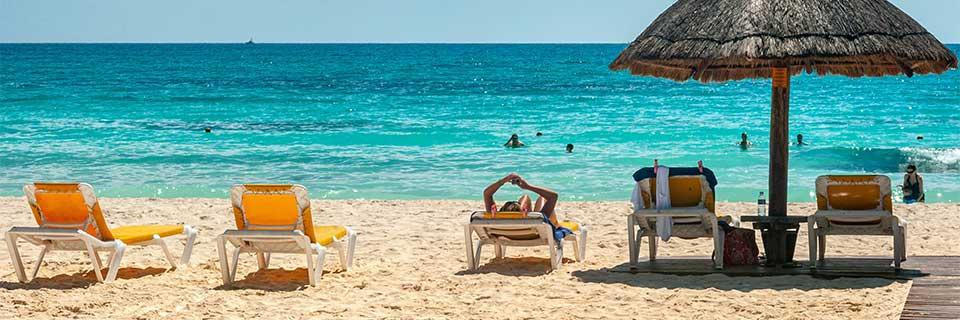Beach chairs in Cancun, Mexico