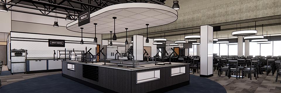 Artist rendering of new Rockhurst cafeteria