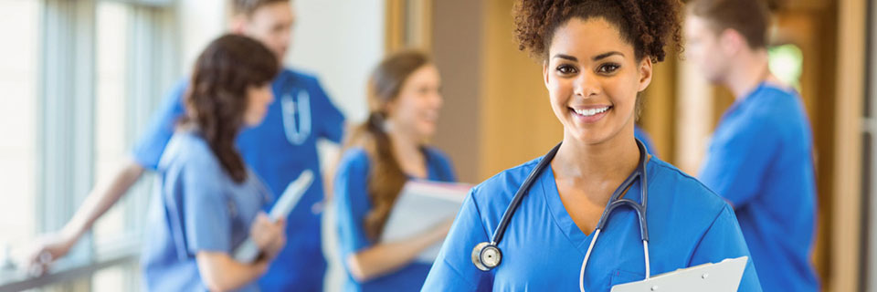 Student smiling with stethoscope