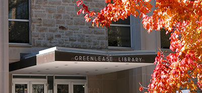 Greenlease Library entrance in the fall