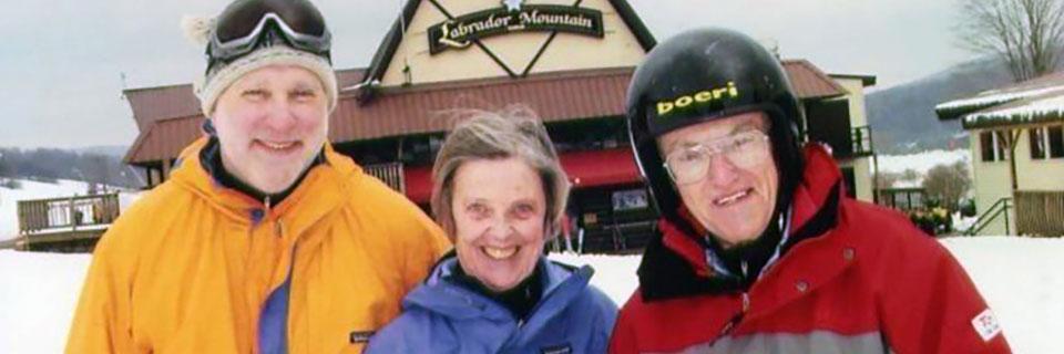 Group of friends on ski slope