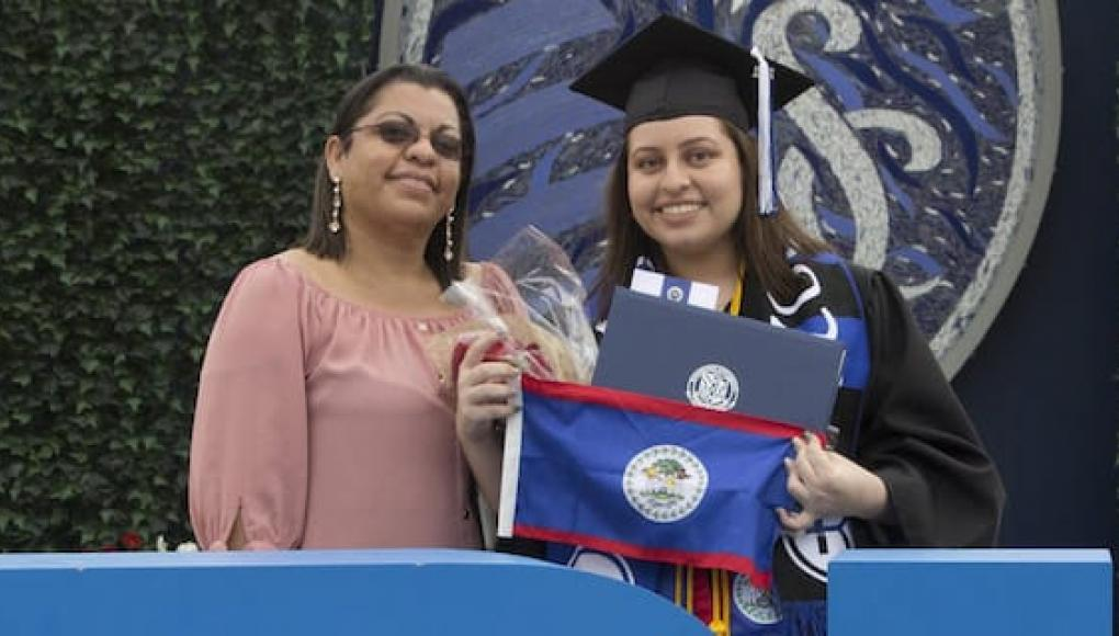Student Niki Sanchez and her mother