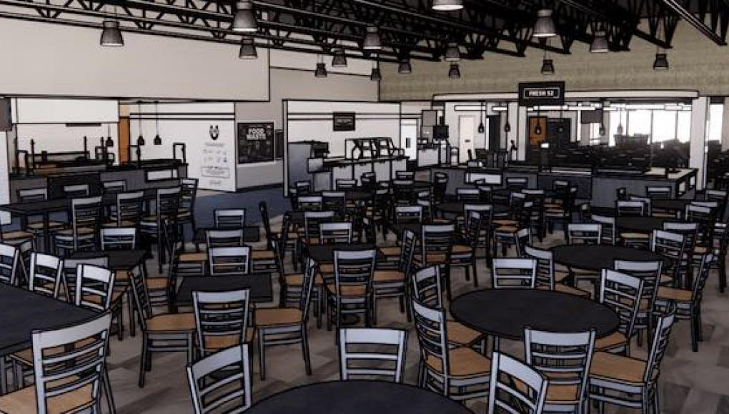 Rendering of the interior of the renovated dining hall