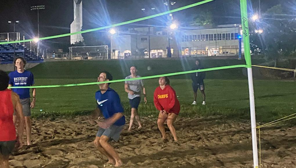 Beach volleyball intramurals on Rockhurst's sand court