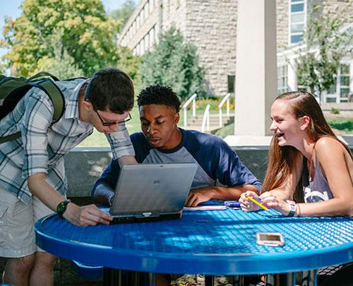 Students studying at the Pergola