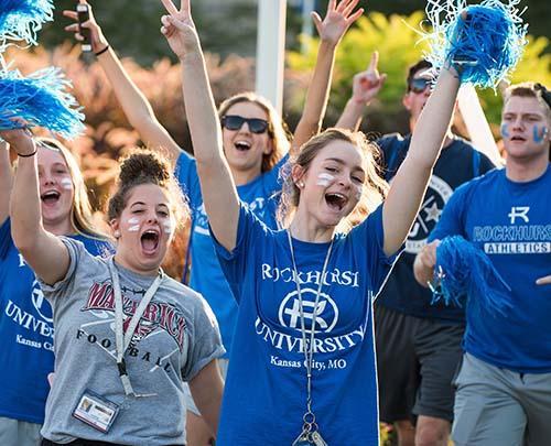 Students cheering at a pep rally