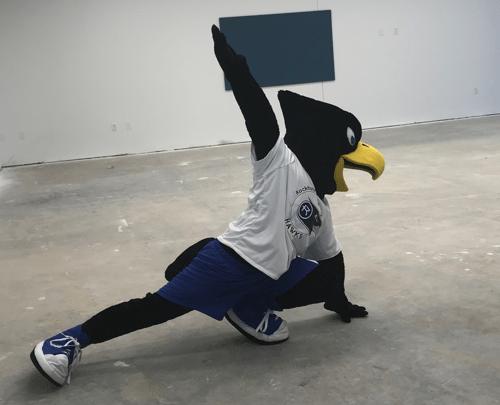 Rock E. doing yoga