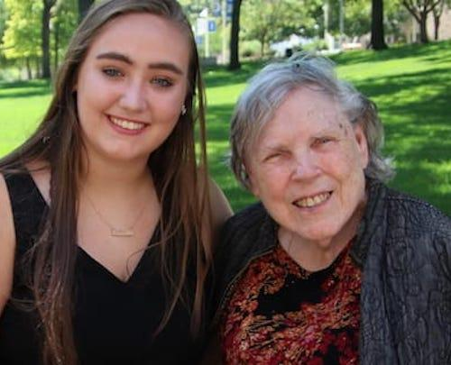 Emma Barben and her grandmother on campus