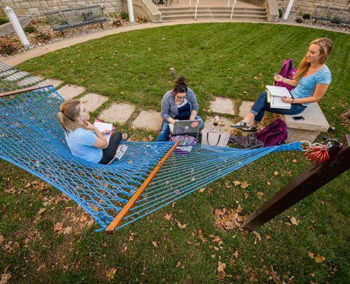 students studying on hammock