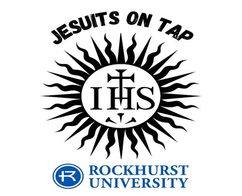 Jesuits on tap featuring the IHS sunburst - Jesuit seal and RU logo
