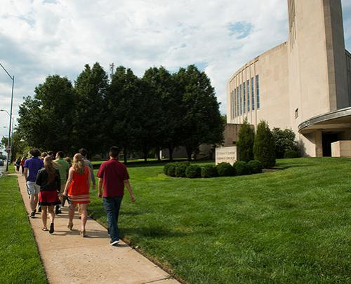 Photo of students walking to Mass