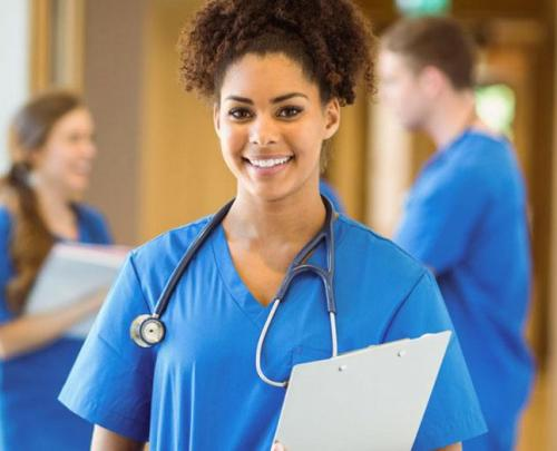 Nursing student with stethoscope and clipboard