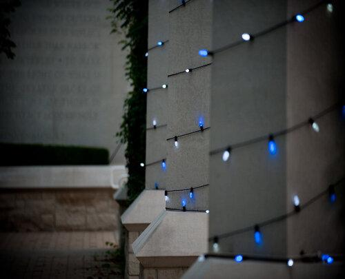 blue lights on pergola