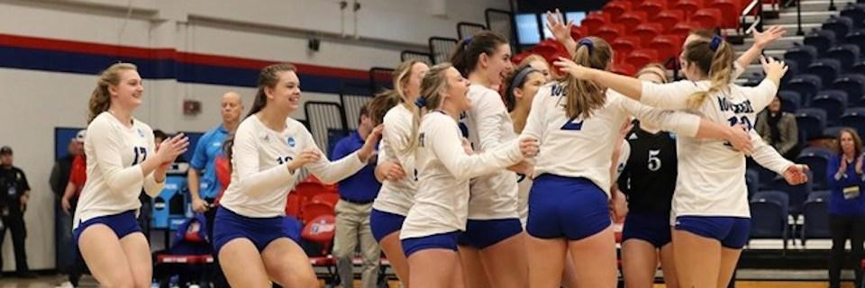 Volleyball team celebrating on the court