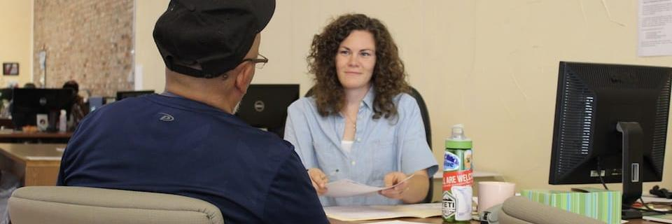 Student and a client in an office
