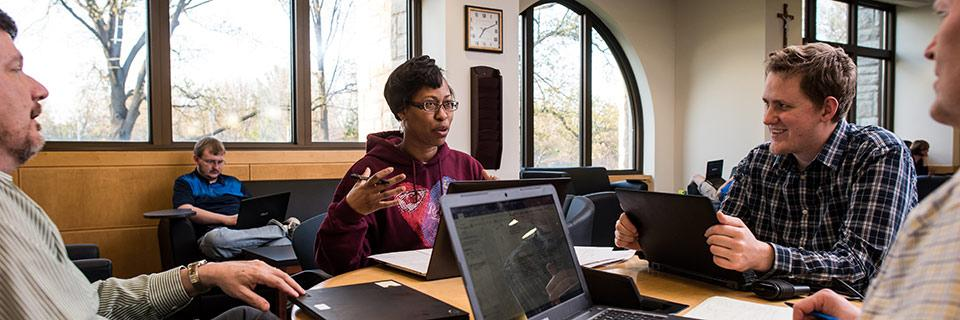 Students study in Conway Hall