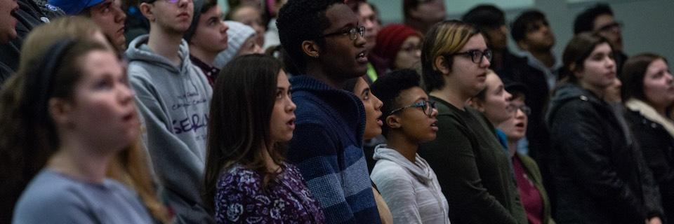 Students at a prayer service on Martin Luther King Day