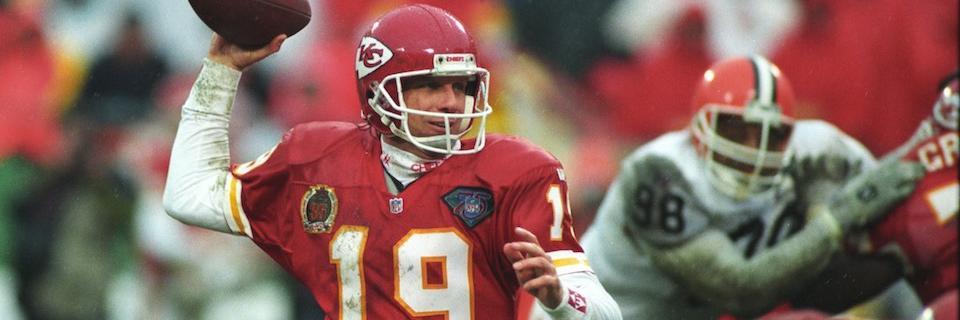 Joe Montana playing with the Kansas City Chiefs