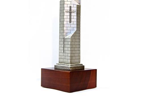 An alumni awards trophy