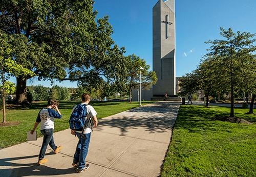 walking by the belltower