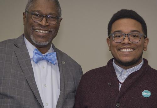 Mayor Sly James and RU employee Thomas Diggs