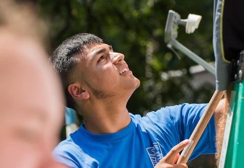 Student works during 2017 Finucane Service Project