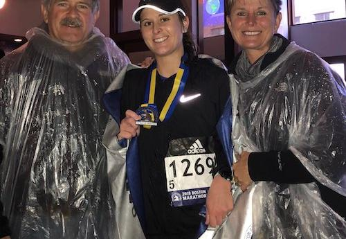 DPT student Brooklyn Swantek after finishing the Boston Marathon
