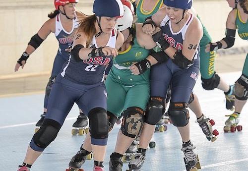 Team USA women's roller derby team in action