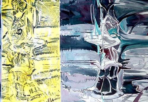"Travis Pratt, ""River"" 2015, 94"" 73"", acrylic"