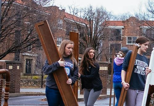 Students participating in a service project