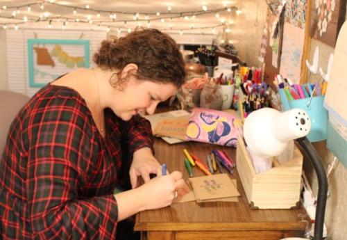 Sarah Hummel working on crafts