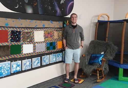 Joey McGuire in the sensory room