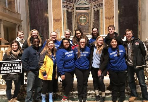 Students attend Mass prior to the March for Life