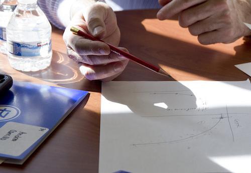 Man working on math problem