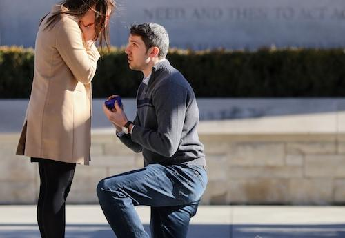 Natalie Berigan and Ethan Kuster celebrate their engagement on campus