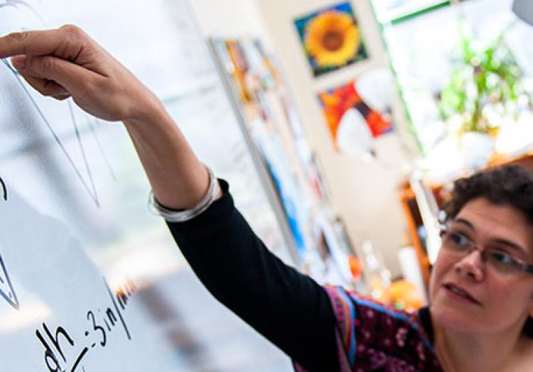 Professor teaching student
